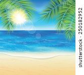 sand beach and the palm... | Shutterstock .eps vector #250182952