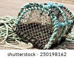 Mesh Net Fish Trap In A Sea Port