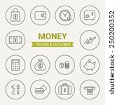 set of round and outlined money ... | Shutterstock .eps vector #250200352