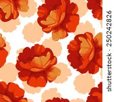 seamless pattern with red roses  | Shutterstock .eps vector #250242826