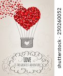 valentine card with a heart... | Shutterstock .eps vector #250260052