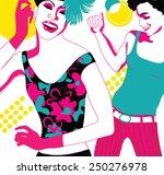 happy young friends dancing in... | Shutterstock .eps vector #250276978