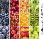 fruits  berries and greens in... | Shutterstock . vector #250296145