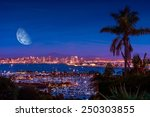 san diego night with large moon ...