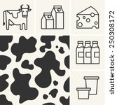 web icons dairy milk and cow... | Shutterstock .eps vector #250308172