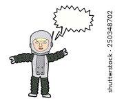 cartoon astronaut with speech... | Shutterstock . vector #250348702