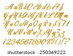 3d gold alphabet letters and... | Shutterstock . vector #250369222
