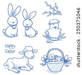Cute Easter Icon And Animal Pe...