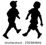 silhouettes of two little boys... | Shutterstock .eps vector #250384846