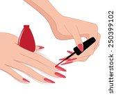 woman hands   applying nail... | Shutterstock .eps vector #250399102