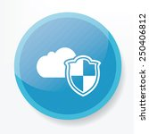 cloud security on blue button...
