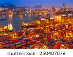 industrial port with containers | Shutterstock . vector #250407076