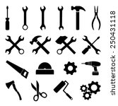 set of black flat icons   tools ... | Shutterstock .eps vector #250431118