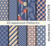 set of ten japanese patterns | Shutterstock .eps vector #250450678