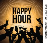 happy hour burst with toasting... | Shutterstock .eps vector #250561168