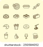 various fast food and drink... | Shutterstock .eps vector #250584052