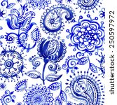 seamless pattern in paisley... | Shutterstock .eps vector #250597972