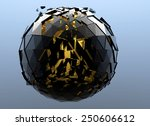 black sphere shattered and gold ... | Shutterstock . vector #250606612