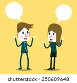 two business people talking and ... | Shutterstock .eps vector #250609648