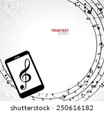 mobile phone with music notes | Shutterstock .eps vector #250616182
