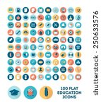 set of 100 flat style education ...