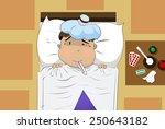 illustration of sick boy cartoon | Shutterstock .eps vector #250643182