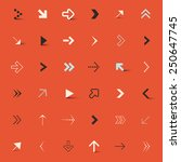 arrows set on red retro... | Shutterstock . vector #250647745