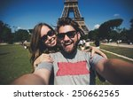 happy smiling couple kissing... | Shutterstock . vector #250662565