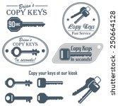 vector set of vintage keys copy ... | Shutterstock .eps vector #250664128