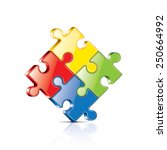 puzzles isolated on white photo ... | Shutterstock .eps vector #250664992