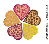 waffles in the shape of hearts... | Shutterstock .eps vector #250667215