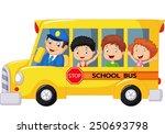 happy children on school bus | Shutterstock .eps vector #250693798