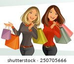 shopping girls | Shutterstock .eps vector #250705666