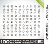 100 universal icons for web and ... | Shutterstock .eps vector #250707562
