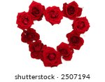 Heart made of red roses  on a white background - stock photo