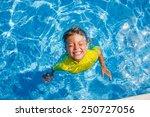 Cute Happy Little Boy Swimming...