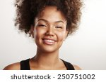 happy beauty woman with afro...   Shutterstock . vector #250751002