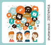 social media icons in speech... | Shutterstock .eps vector #250769416