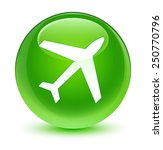 plane icon glassy green button | Shutterstock . vector #250770796