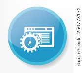 software icon on blue button...