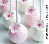 wedding cake pops in pink and... | Shutterstock . vector #250774255