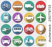 vehicles icons with long shadow ... | Shutterstock .eps vector #250778725