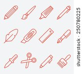 drawing and writing tools icon... | Shutterstock .eps vector #250780225