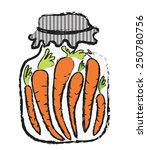 doodle jar of  carrot  winter... | Shutterstock .eps vector #250780756