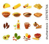 mexican traditional food set... | Shutterstock .eps vector #250785766