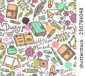 diary hand drawn seamless... | Shutterstock .eps vector #250786048