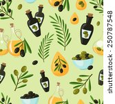 natural olive seamless pattern... | Shutterstock .eps vector #250787548