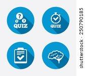 quiz icons. human brain think.... | Shutterstock .eps vector #250790185