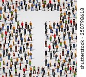 large group of people in letter ... | Shutterstock .eps vector #250798618