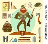 hunter arsenal  beard  ax  gun  ...   Shutterstock .eps vector #250798708